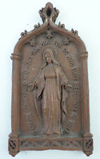 Vintage Syrocco Formed Wood Virgin Mary Pray for Us Wall Religious Plaque