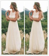 Bohemian Halter Chiffon Bridal Gown Romantic Ivory Beach Wedding Dress 6 8 10 12