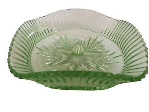 Vintage Green Glass Dish Crimped Edge Star And Fan Design Star Based