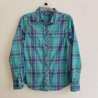 The North Face Womens S Small Blue Plaid Button Down Shirt Roll Tab Sleeve