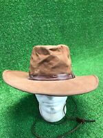 Vtg Outback Trading Company Brown Kodiak Hat Size Large Made In USA Distressed