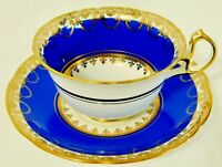 Royal Stafford England BLUE & GOLD Floral Fine Bone China Tea Cup & Saucer Set