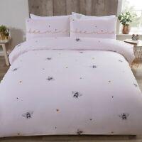 Bee Mine Double Duvet Cover Heart Bumble Bee Quilt Bedding Set Ochre Yellow Pink
