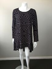 MISTER ZIMI Black Maze Dress Size 8 Long Sleeves Viscose NWOT