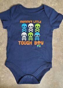 Faded Glory Mommy's Little Tough Boy Bodysuit, Long Sleeve Blue, Boys 3/6 Months