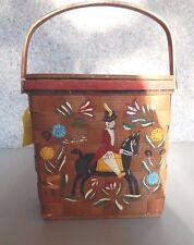 Vtg Woven Basket Handbag Handmade & HandPainted VelvetTrim Handle Quilted Lined