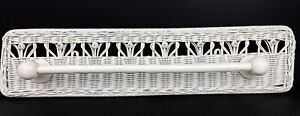 RARE Antique VTG Wall Mount Wicker Towel Bar Holder w/Wooden Beads Painted White
