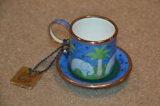 2004 Charlotte di Vita Enamel Tiny Coffee Cup and Saucer Elephants Decoration