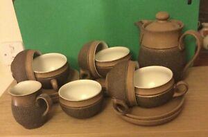 6 Vintage Denby Arabesque Brown Breakfast Tea/Coffee Cups & Saucers 1970s VGC