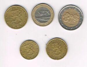 Finlande 1999, 5 pieces coins : 10 cents, 20 cents, 50 cents, 1 euro, 2 euros