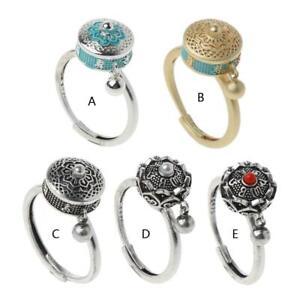 Rotating Rings Buddhist Tibetan Prayer Wheel Ring OM Mantra Lotus Floral Ring
