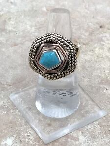 Barse Multiplicity Ring-Mixed Metals & Turquoise- 6-New With Tags