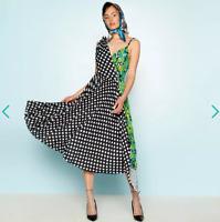 Richard Quinn Green Floral Dot Spliced 'Sunray' Asymmetric Midi Dress UK 8