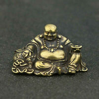 Chinese Brass Maitreya Buddha Small Statue Buddhism Pocket Xmas Gift Good Luck