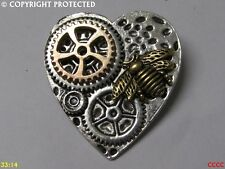 Steampunk pinbadge brooch silver heart gold honey bumble bee Manchester apiarist