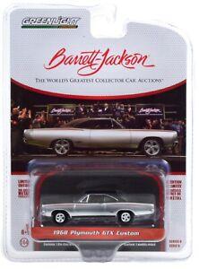 1:64 GreenLight *BARRETT-JACKSON 6* Black & Silver 1968 Plymouth GTX Custom NIP!