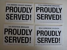Lot of 4 US Army PROUDLY SERVED ! Peel-Off Stickers *New, Never Used*