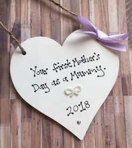 FIRST MOTHERS DAY GIFT PRESENT KEEPSAKE CHIC HEART SIGN Mummy