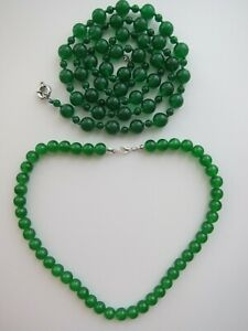 "Green Jade Beaded Necklaces from 18"" to 36"" Length. New."