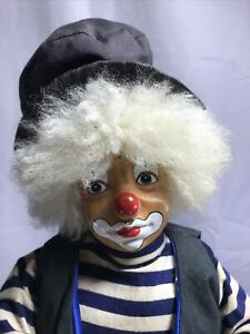 VINTAGE GB RETAILERS SHELF CLOWN, PORCELAIN FACE, STUFFED HOLDING DICE