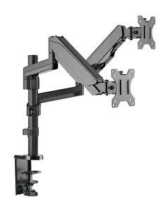 Dual Gasdruck Monitor Schwenkarm Doppel Tisch Halterung 2x8KG Office-GS425