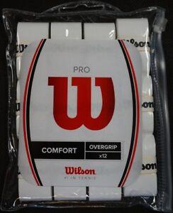 NEW Wilson Pro Comfort Tennis Overgrip White 12-Pack - Waterproof zipperd Bag