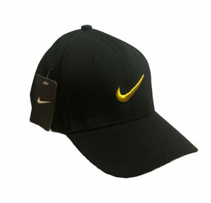 NIKE BLACK ADJUSTABLE GOLF HAT YELLOW/GOLD SWOOSH NEW WITH TAGS