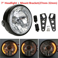 "7"" Universal Motorcycle LED Headlight Turn Signal Light Indicator Bracket Mount"