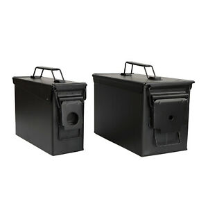 RC Black Waterproof Ammo Box Set - 30 and 50 Cal Large Ammo Storage Containers