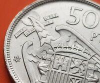 @ESTRELLA TRUCADA@ 50 PESETAS 1957 * 69 moneda de Nickel España FRANCO 1969 SC