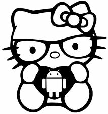 ANDROID HELLO KITTY vinyl car window decal sticker 13 COLORS