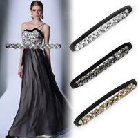 Luxury Women Rhinestone Belt Bling Crystal Belt Elastic Skinny Jewelry Waistband