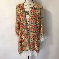 Relipop Womans Tan Floral Print Lace Trim Kimono Cover Up Size L Open Front
