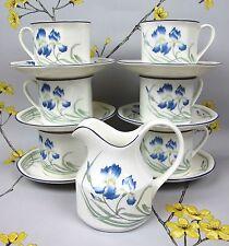 VINTAGE ROYAL DOULTON minevra Tea Service De Café/Set Pour 6-bleu iris. tasses