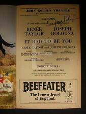 Joseph Bologna It Had To Be You Signed John Golden Theatre Playbill 135U