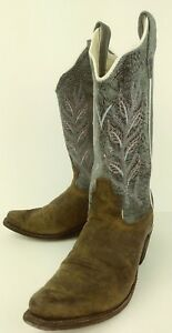 Old West Kids Boots Cowboy US 2.5 Blue Brown Leather Pink Floral Stitch 2013
