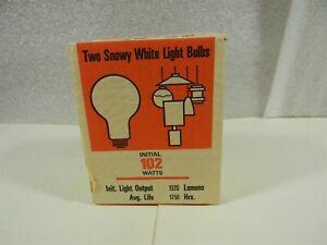 Vintage NOS Com Ed 102 Watt Snowy White 2 Pack Light Bulbs Made in USA - !25