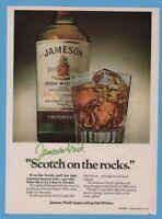 1981 John Jameson Irish whiskey bottle glass Vintage On the Rocks Print Ad 1