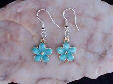 Blue Enamel Peach Blossom Flower,925 Silver Hook Earrings.Handmade In Gift Bag
