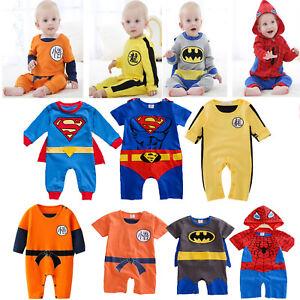 Baby Infant Boys Girls Superhero Costume Romper Bodysuit Jumpsuit Outfit Clothes