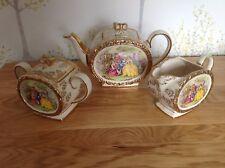 Sadler Courting Couples Pattern Gilt Edged Teapot Milk Jug & Lidded Sugar Bowl