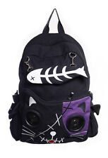 Black And Purple Kitty Speakers Plug & Play Music BagPack By Banned Apparel