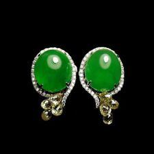 【KOOJADE】Icy Emerald Green Jadeite Earring 《Grade A》