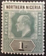 Northern Nigeria Edward VII 1/- Green & Black SG26a C/V £22 in 2018.