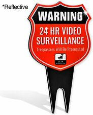 Warning 24 Hour Video Sign - No Trespassing Outdoor Signage - Heavy Duty