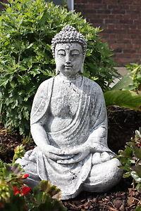 Steinfigur großer Buddha Shiva Frostfest Garten Deko Steinguss groß Gartenfigur