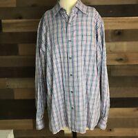 Ermenegildo Zegna Striped Blue Long Sleeve Button Shirt XL Cotton Made In Italy