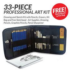 33 Pcs Professional Drawing Artist Kit Set Pencils and Sketch Charcoal Art Tools