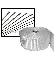 Blanc 5m Fibre de verre bateau bandage d'échappement du moteur chaleur Wrap bande + 8 attaches en acier