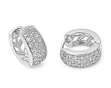 Silver Huggie Hoop Earrings with Cubic Zirconia Height 14 mm Stone Clear CZ 925